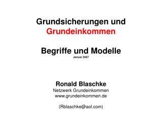 Grundsicherungen und Grundeinkommen  Begriffe und Modelle Januar 2007