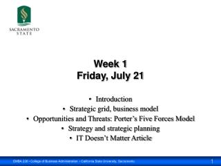 Week 1 Friday, July 21