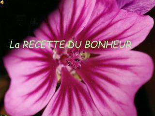 La RECETTE DU BONHEUR