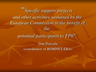 Specific support projects  and other activities sustained by the European Commission in the benefit of the  potential p