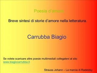 Poesia d amore Breve sintesi di storie d amore nella letteratura.