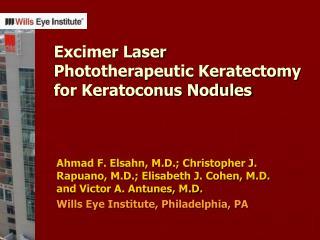 Excimer Laser  Phototherapeutic Keratectomy for Keratoconus Nodules