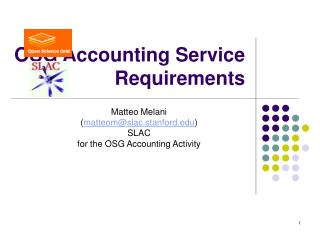OSG Accounting Service Requirements