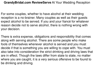 GrandyBridal.com ReviewServe At Your Wedding Reception