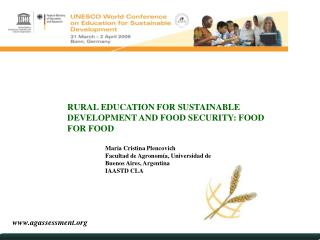 RURAL EDUCATION FOR SUSTAINABLE DEVELOPMENT AND FOOD SECURITY: FOOD FOR FOOD