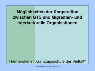 M glichkeiten der Kooperation zwischen GTS und Migranten- und interkulturelle Organisationen
