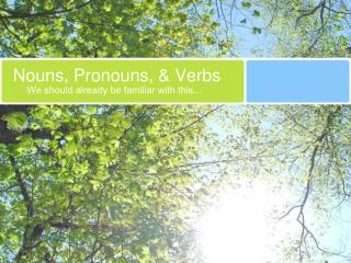 Nouns, Pronouns,  Verbs