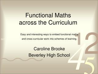 Functional Maths  across the Curriculum