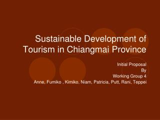 Sustainable Development of Tourism in Chiangmai Province