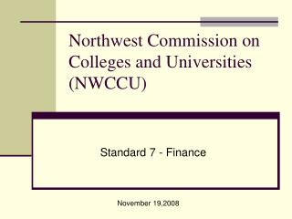 Northwest Commission on Colleges and Universities NWCCU