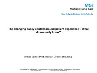 The changing policy context around patient experience   What do we really know