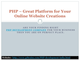 PHP – Great Platform for Your Online Website Creations