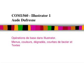 COM1560 - Illustrator 1 Aude Dufresne