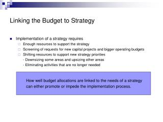 Linking the Budget to Strategy