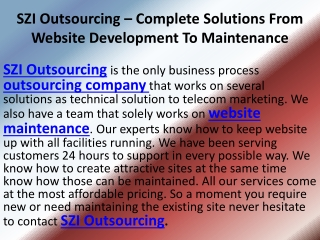 SZI Outsourcing � Creating And Maintaining Websites