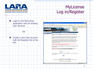 MyLicense  Log in