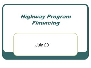 Highway Program Financing