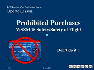 Prohibited Purchases WSSM  Safety