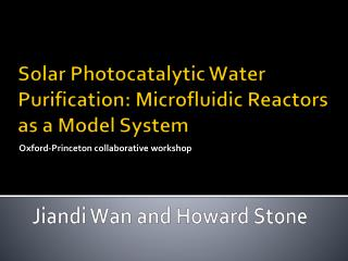 Solar Photocatalytic Water Purification: Microfluidic Reactors as a Model System
