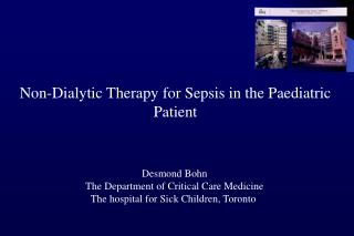 Non-Dialytic Therapy for Sepsis in the Paediatric Patient
