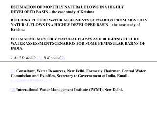 ESTIMATION OF MONTHLY NATURAL FLOWS IN A HIGHLY DEVELOPED BASIN   the case study of Krishna