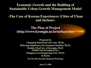 Economic Growth and the Building of Sustainable Urban Growth Management Model  -The Case of Korean Experiences Cities of