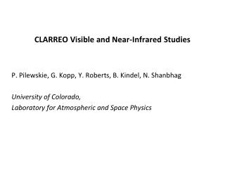 CLARREO Visible and Near-Infrared Studies
