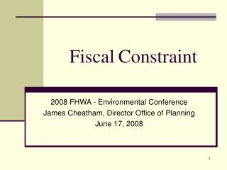 Fiscal Constraint