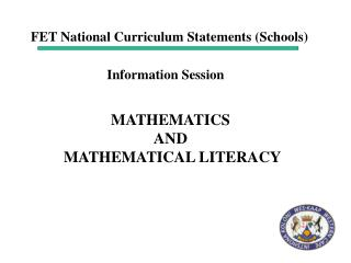 MATHEMATICS  AND  MATHEMATICAL LITERACY