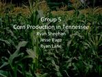 Group 5 Corn Production in Tennessee Ryan Sheehan Jesse Page Ryan Lane