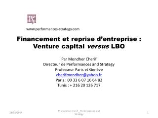 Financement et reprise d entreprise : Venture capital versus LBO