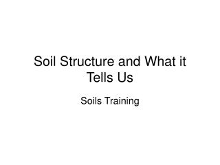 Soil Structure and What it Tells Us
