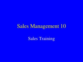 Sales Management 10