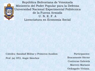 Rep blica Bolivariana de Venezuela Ministerio del Poder Popular para la Defensa Universidad Nacional Experimental Polit