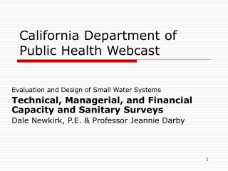 California Department of Public Health Webcast