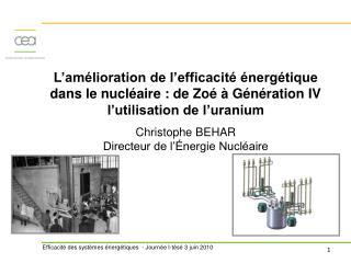 L am lioration de l efficacit   nerg tique dans le nucl aire : de Zo    G n ration IV l utilisation de l uranium  Christ