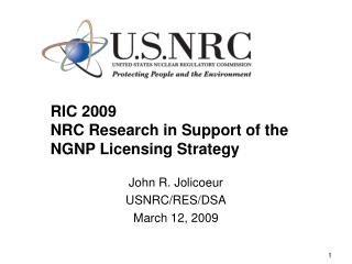 RIC 2009 NRC Research in Support of the NGNP Licensing Strategy