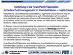 Einf hrung in die PowerPoint-Pr sentation  Arbeitsschutzmanagement in Kleinbetrieben   Positivbeispiele