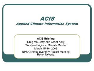 ACIS Applied Climate Information System