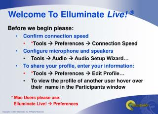 Welcome To Elluminate Live
