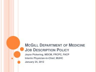 McGill Department of Medicine Job Description Policy