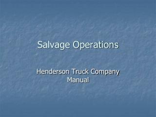 Salvage Operations