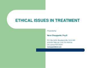 ETHICAL ISSUES IN TREATMENT