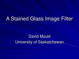 A Stained Glass Image Filter