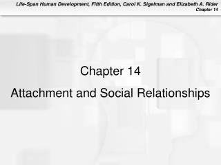 Chapter 14  Attachment and Social Relationships