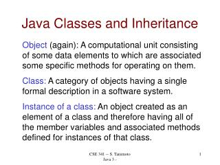 Java Classes and Inheritance