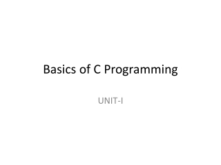 Fundamental of C Programming Language and Basic Input