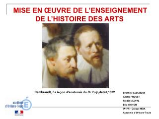 MISE EN  UVRE DE L ENSEIGNEMENT DE L HISTOIRE DES ARTS
