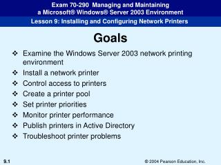 Examine the Windows Server 2003 network printing environment Install a network printer Control access to printers Create