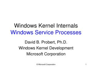 Windows Kernel Internals Windows Service Processes